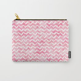 Pink White Watercolor Chevron Stripes Carry-All Pouch