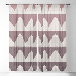 Geometric Pyramid Pattern - Red Gradient Sheer Curtain