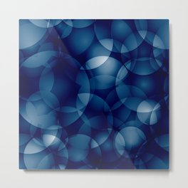 Dark intersecting translucent sea circles in bright colors with a blue glow. Metal Print