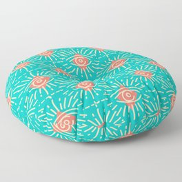 Dainty All Seeing Eye Pattern in Coral Floor Pillow