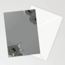 Grey peonies design  Stationery Cards