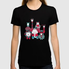 Doodle Animal Friends Pink & Grey T-shirt