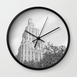New York City (NYU) Architecture - Black & White Wall Clock