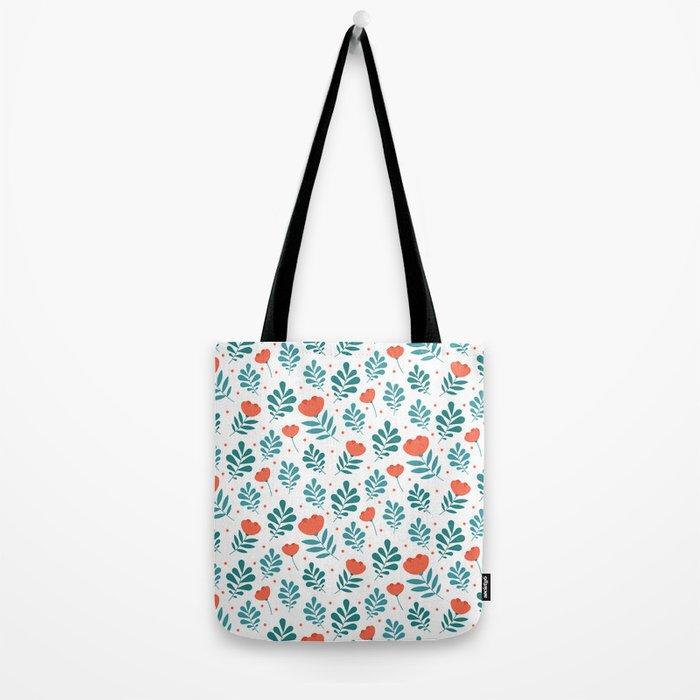Floral Leaf Pattern Tote Bag