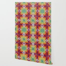 Kaleidoscope Fractal Tie Dye Green Yellow Orange Purple Wallpaper