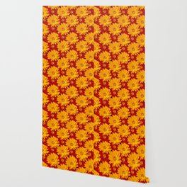 A Medley of Red and Yellow Marigolds Wallpaper