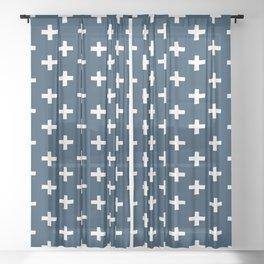 SWISS CROSSES - NAVY and WHITE Sheer Curtain