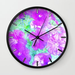 Watercolor Petunias Wall Clock