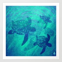 turtles Art Prints featuring Turtles by Inailau Hut