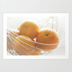 Fresh oranges in basket Art Print
