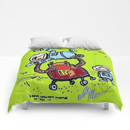 Robot Ape Runs Amok, Full Color Comforters