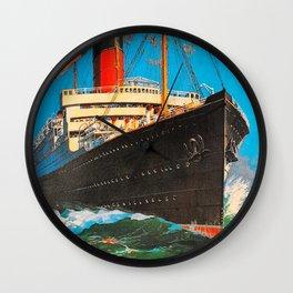 Cunard Hamburg New York Travel Poster Wall Clock