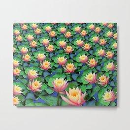 Fractal Flowing Water Lilies Metal Print
