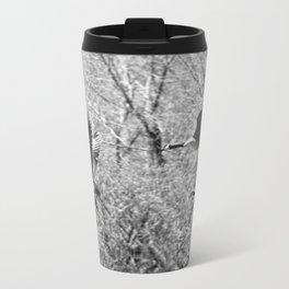 Canadian Geese in Black & White Metal Travel Mug
