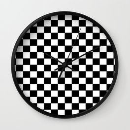 Checkers - Black and White Wall Clock
