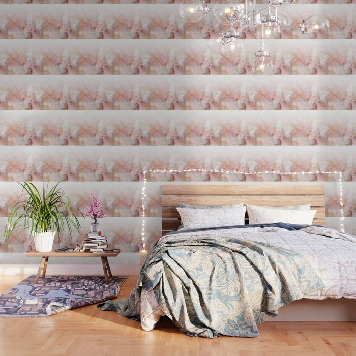 Beautiful Pink and Gold Ombre marble under snow Wallpaper