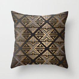 Art Deco Ornamental Grey Happiness Throw Pillow