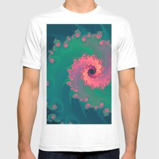 SWIRLY PASTEL White MEDIUM Mens Fitted Tee