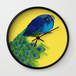 The Beauty That Sleeps - Vertical Peacock Painting Wall Clock