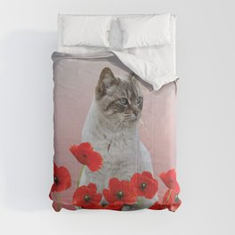 poppies Flowers with white grey cat Comforters