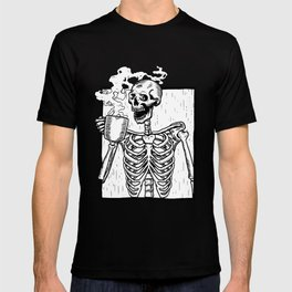 Skeleton Drinking a Cup of Coffee T-shirt