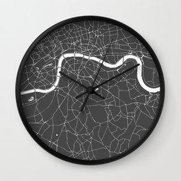Gray on White London Street Map Wall Clock