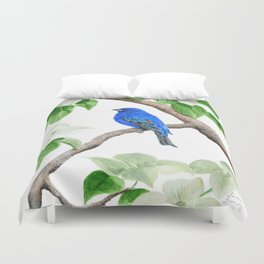 Royal Blue-Indigo Bunting in the Dogwoods by Teresa Thompson Duvet Cover