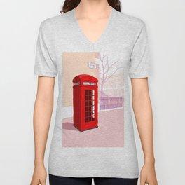 London Telephone Box Unisex V-Neck