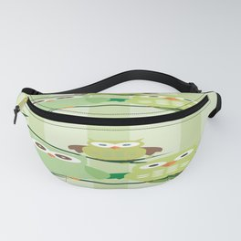 Green Owls Fanny Pack
