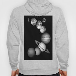 the solar system Black and white Hoody