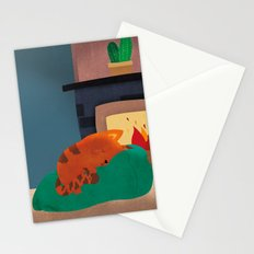 A Nice Winter Snooze In Front Of The Fire Stationery Cards