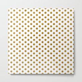 Gold Glitter Polka Dots Metal Print
