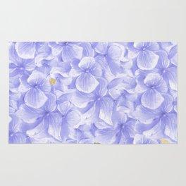 Elegant lavender white faux gold watercolor hydrangea flowers Rug