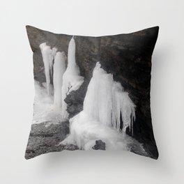 Coastal Waterfall Ice Throw Pillow