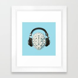 Mind Music Connection /3D render of human brain wearing headphones Framed Art Print