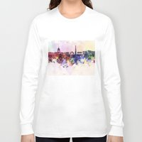 washington dc Long Sleeve T-shirts featuring Washington DC skyline in watercolor background  by Paulrommer