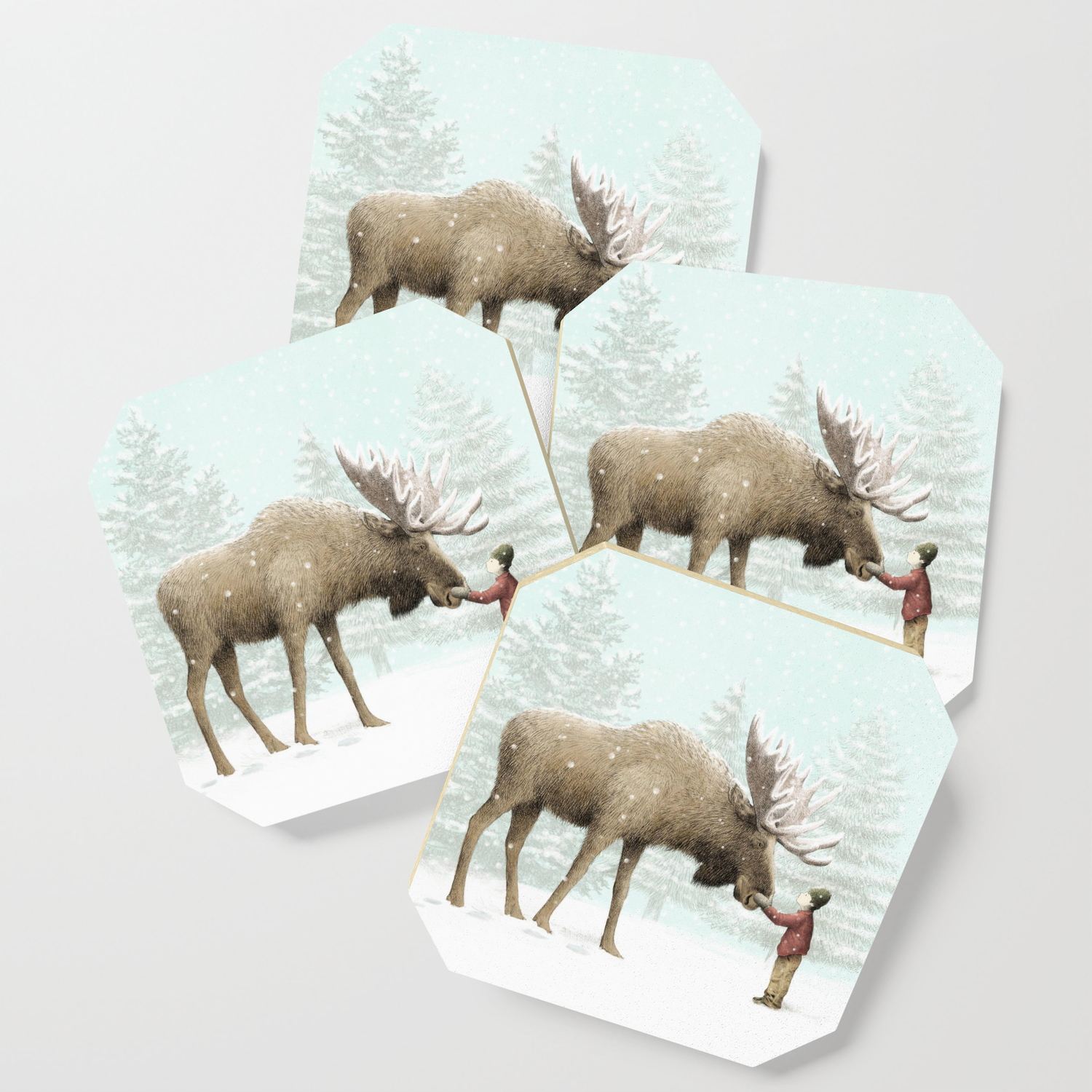 Winter Moose Coaster By Opifan64 Society6