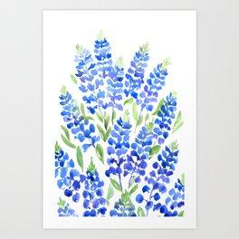Watercolor Texas bluebonnets Art Print