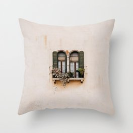 Window on House Wall in Spain Throw Pillow