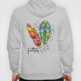 Two bright tribal feathers Hoody