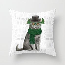 British Shorthair Christmas Cat Throw Pillow