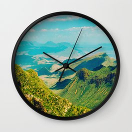 Mid Century Modern Round Circle Photo Graphic Design Vintage Pastel Green Mountain Valley Wall Clock