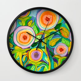 Peach Peonies in the Garden Wall Clock