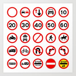 Road Signs - Red Round Art Print