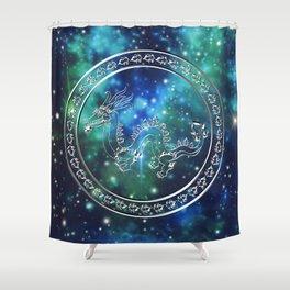 Silver Galactic Dragon Shower Curtain