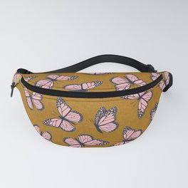monarch butterflies - pink on ginger Fanny Pack