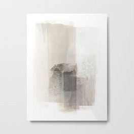 Beige and Brown Minimalist Abstract Painting Metal Print