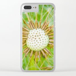 Closeup shot of a dandelion blowing seeds blowing away Clear iPhone Case