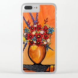 Flowers On Table Clear iPhone Case