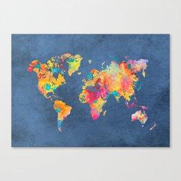 world map blue 2061 #map #worldmap Canvas Print